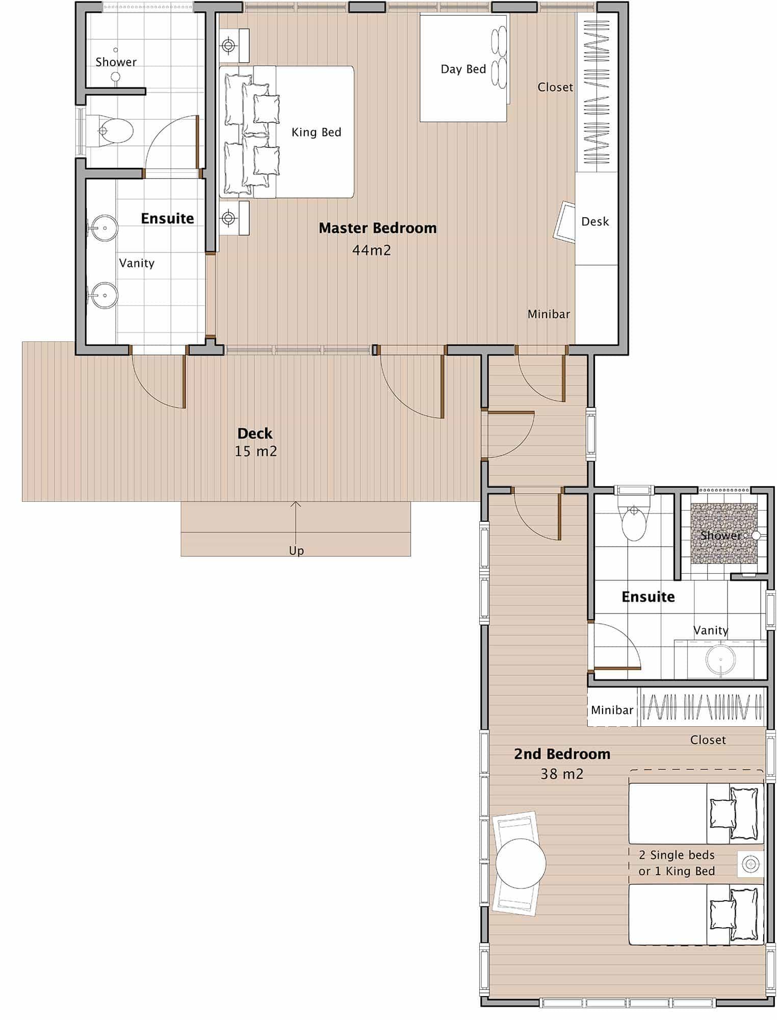 Oceanfront 2 bedroom fiji suites honeymoon suite fijiresort for Jmc homes floor plans