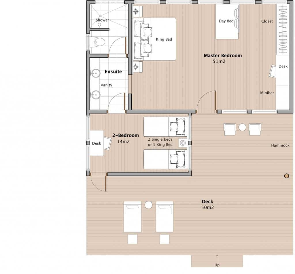 oceanfront two bedroom bure floorplan