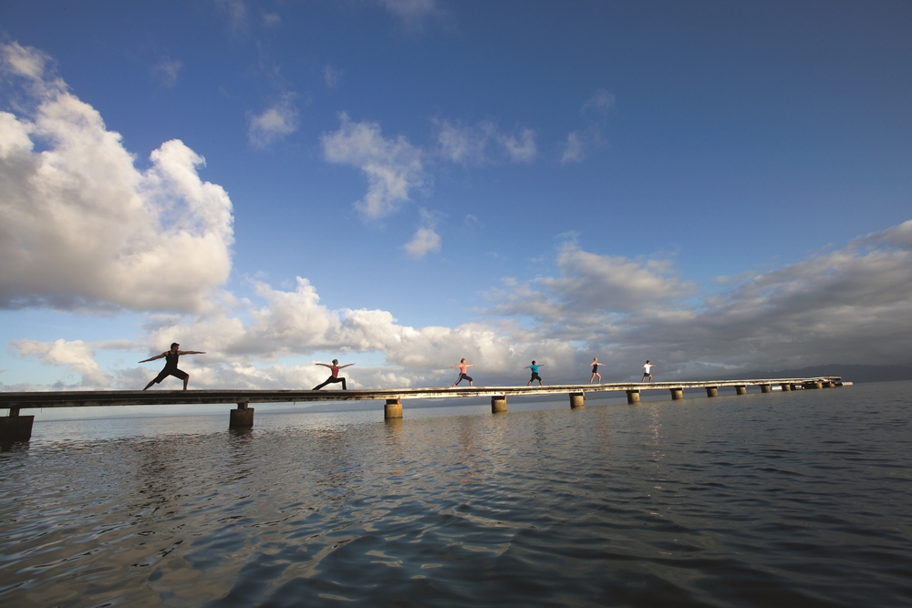 A morning yoga class on the water is great for the soul.
